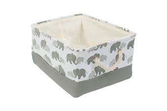 BEYONDY Storage Bins,Fabric Storage Baskets Towel Storage Bin Laundry Toy Basket w Drawstring Closure,Grey Elephant