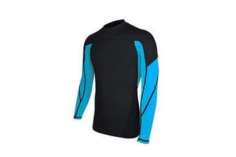 (Large, Black & Light Blue) - ALLEZ Men's Long Sleeve Rash Guard Dual Tone Athletic Design Tops Swimwear UPF 50+ Sun Protection Swim Shirts