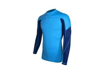 (XX-Large, Light Blue & Navy) - ALLEZ Men's Long Sleeve Rash Guard Dual Tone Athletic Design Tops Swimwear UPF 50+ Sun Protection Swim Shirts