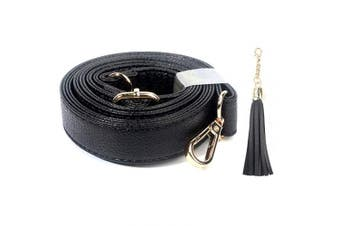 (1.3cm  Wide, Gold Clasp) - Beaulegan Purse Strap Replacement - Microfiber Leather - Adjustable for Crossbody Bag or Handbag - 34-150cm Long 1.3cm Wide, Black with Gold Clasp