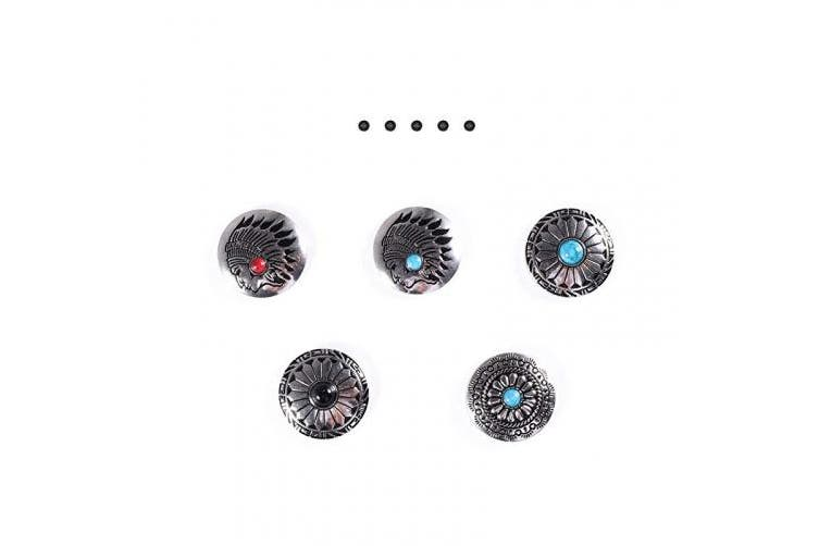 (Concho Button) - Concho Button 5Pcs Large Concho Button for Leather Screw Back Turquoise Beads Leathercraft Button Indian Head Concho Screw Back