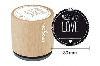 "(Made with Love) - WOODIES Love Themed Stamp ""Made With Love"", 2.5cm - 0.5cm Impression (071776)"