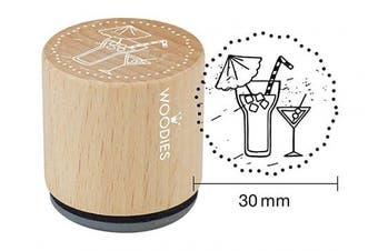 "(Cocktails) - WOODIES Invitation Themed Stamp ""Cocktails"", 2.5cm - 0.5cm Impression (071730)"