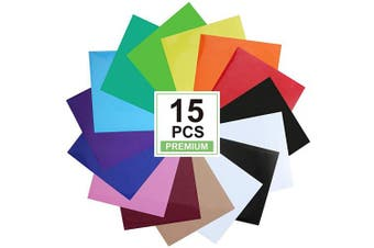 CAREGY Heat Transfer Vinyl for T-Shirts 30cm x 25cm 15 Sheets-Iron On Vinyl HTV Bundle Compatible with Silhouette Cameo, Cricut or Heat Press