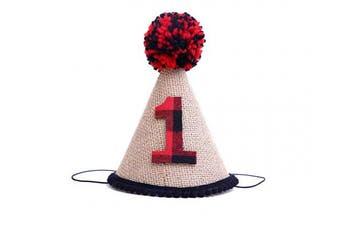 (Lumberjack Party Hat) - 1st Birthday for Lumberjack Crown - Buffalo Plaid Burlap First Birthday Crown - Lumberjack Party Surprise- Stiffened Burlap Crown Hat-Wild One