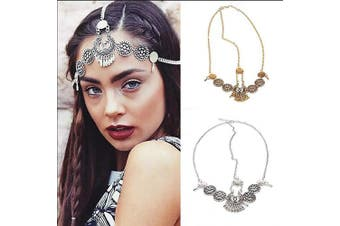 (gold) - Chargances Fashion Women Hot Bohe Halloween Charm Head Chain Vintage Metal Drop Headpiece Headband Girl Hair Accessories (gold)