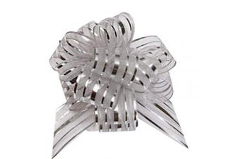 (silver) - FQTANJU Pull Bow, Large, Organza, 15cm , 5 Pieces, Silver