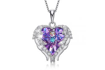 (Sterling Silver Purple) - CDE Christmas Thanksgiving Necklace Gift for Women Crystals Heart Pendant Necklaces, Embellished with Crystals from for Women Mum Girlfriend