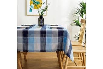 (60×300cm , Blue) - AmHoo Checked Plaid Dining Waterproof Tablecloth Cotton Linen Lattice Table Covers for Kictchen Indoor and Outdoor Use,60×300cm ,Blue