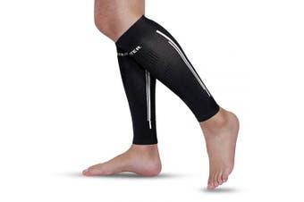 (XL, Black) - Calf Compression Sleeves - BERTER Leg Compression Socks for Shin Splint Calf Pain Relief (20-25mmhg) - Men Women Calf Guard for Running, Cycling, Travel, Sport