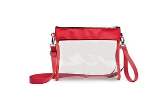 (Red) - Clear Crossbody Purse NFL Stadium Approved Clear Bag with Adjustable Shoulder Strap and Wrist Strap for Work, School, Sports Games, Concerts