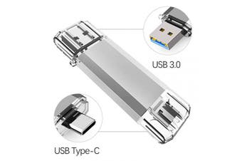 (64GB, USB 3.0 Type C-Silver) - USB C Memory Stick 64GB USB 3.0 Type C Dual OTG Flash Drive Thumb Drive for USB C Smartphone, New Macbook,Samsung Galaxy S8, S8 Plus, Note 8, Huawei P30 and so on - Silver