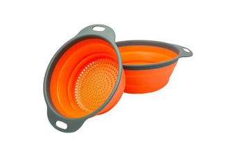 (Orange) - Miswaki Collapsible Colanders with Handles (2 Pc. Set) Round Kitchen Sink Strainers   Heat-Resistant Silicone   Stackable, Space-Saving Design   Pasta, Vegetables, Hot Water (Orange)
