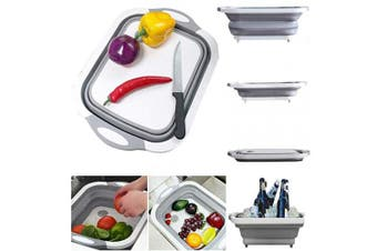 (Gray) - HomDSim Folding Cutting Board Dish Tub,Drain Basket Vegetable Basin,Collapsible Colander Fruits Vegetables Wash and Drain Sink Storage Basket 3 in 1 Multifunctional for Kitchen Outdoor Travel Camping