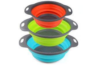 (3, Green+Orange+Blue) - Collapsible Colander, URBEST Strainer Set Round Silicone Kitchen for Draining Pasta, Vegetable and fruit (3, Green+Orange+Blue)