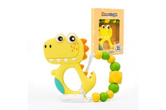 (Yellow) - AmzingM Dinosaur Teething Pain Relief Toy with Pacifier Clip,Food Grade BPA Free Silicone Teether,Neutral for Boy and Girl (Yellow)