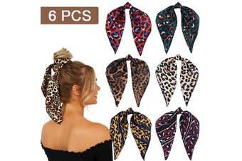 6Pcs Hair Scarf Leopard Print Hair Scrunchies Hair Bands Elastic Ties Print Bandana Ponytail Holder Vintage Accessories for Women Girls