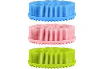 3 Pieces Body Scrubber Silicone Scrub Brush Silicone Body Wash Scrubber for Skin Exfoliation, 3 Colours