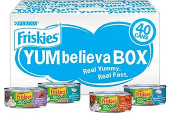 ((40) 160ml Cans, NEW! Indoor Variety Pack) - Purina Friskies Wet Cat Food Variety Pack