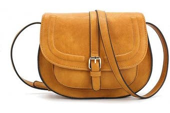 (S-yellow) - AFKOMST Crossbody Bag and Small Satchel Purse for Women Vintage Saddle Handbag and Shoulder Bag