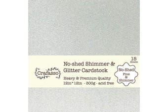 Crafasso No-Shed fine Glitter cardstock, 30cm x 30cm 300GMS, 15 Sheets, Silver