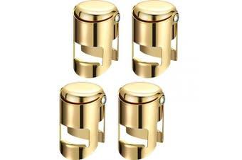 (Gold, 4) - Champagne Sealer Stopper Stainless Steel Wine Bottle Stopper Sparkling Wine Bottle Plug Sealer Set with a Longer Sealing Plug (Gold, 4)