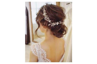 (gold) - Chargances Bride Weeding Headband with Crystal Pearl Headpiece for Bridesmaid Prom Hair Accessories for Women and Girls (gold)