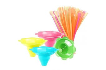 100 Pcs Colourful Flower Cups Reusable Cone Flower Drip Cups Small Bowls Snow Cone Supply Shaved Ice Snacks Ice Cream Bowls with 100 Pcs Cone Spoon Straws