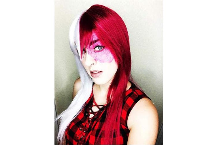 (long) - Baruisi Long Straight Anime Cosplay Wig for Women Red White Synthetic Halloween Hair Wig