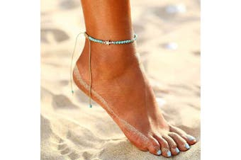 Jovono Boho Turquoise Star Anklets Blue Beaded Anklet Bracelets Fashion Beach Foot Jewellery for Women and Girls (Silver)