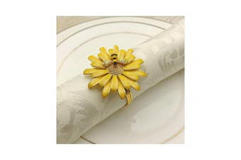 QTKJ Set of 6 Home Metal Flower Napkin Rings Cute Bee Napkin Buckles Holder for Wedding,Parties, Dinners, Christmas, Holidays Decor (Yellow)