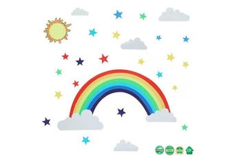 Rainbow Wall Sticker with Stars and Sun Clouds Rainbow Peel Colourful Rainbow Wall Decal for Bedroom Classroom Nursery Home Decoration