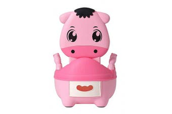 (Pink) - Glenmore Childrens Boys and Girls Potty Training Chair Seat Animal Potty Cow Soft Cushioned with Handles Pink Cute
