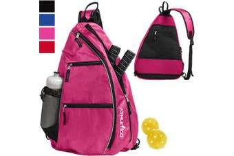 (Pink) - Athletico Sling Bag - Crossbody Backpack for Pickleball, Tennis, Racketball, and Travel for Men and Women