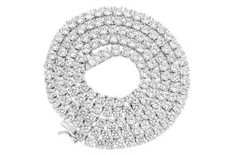 "(Chain 24'') - NEW 1 Row Tennis Necklace 24 Inch Silver Finish Lab Created Diamonds 4MM Iced Out Solitaires (Chain 24"")"