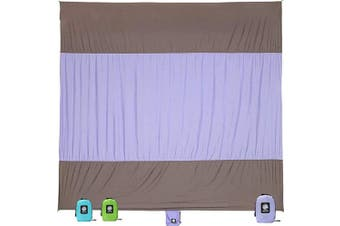 (Purple) - WEKAPO Sand Free Beach Blanket, Extra Large Oversized 3mX 2.7m for 7 Adults Beach Mat, Big & Compact Sand Proof Mat Quick Drying, Lightweight & Durable with 6 Stakes & 4 Corner Pockets