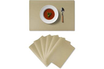 (Set of 6, Golden Beige) - Alpiriral Placemats Heat Resistant Place Mats Set of 6 Easy Wipe PlaceMats for Kitchen Table in Golden Beige
