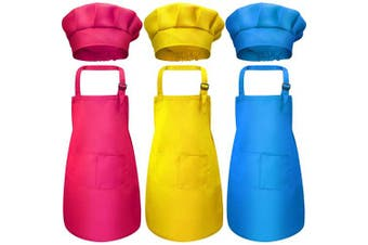 (Large, Color 3) - 6 Pieces Kids Chef Hat Apron Set, Boys Girls Adjustable Cotton Aprons Kitchen Bib Aprons with 2 Pockets for Kitchen Cooking Baking Wear (Large, Colour 3)