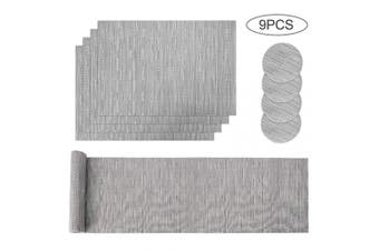 (Gray) - Aiglam Placemats, Placemats and Coaster Sets,Place mats,Stain-resistant Cross weave Woven Vinyl Non-Slip Washable Heat Resistant Grey Place Mats