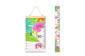 (Flamingo) - Basumee Height Chart for Kids Flamingo Wall Ruler Growth Chart Wood and Canvas Wall Decals 20x200 cm