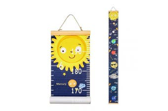 (Planet) - Basumee Height Chart for Kids Planet Wall Ruler Growth Chart Wood and Canvas Wall Decals 20x200 cm