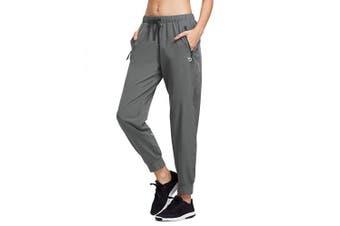 (Medium, Gray) - BALEAF Women's Lightweight Running Pants Woven Joggers Sun Protection UPF 50+ Zipper Pockets