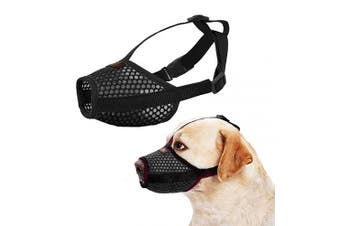 (Medium, Black) - Nylon Dog Muzzle - Anti-Biting Barking Secure Fit Dog Muzzle - Mesh Breathable Dog Mouth Cover for Small Medium Large Dogs