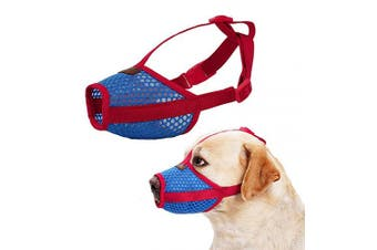 (X-Large, Red) - Nylon Dog Muzzle - Anti-Biting Barking Secure Fit Dog Muzzle - Mesh Breathable Dog Mouth Cover for Small Medium Large Dogs