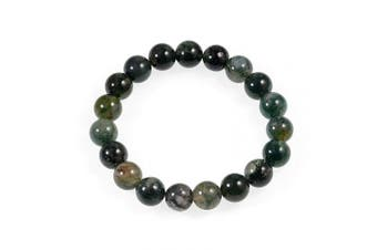 (Moss Agate) - AD Beads Natural Gemstone Round Beads Stretch Bracelet Healing Reiki 10mm (Moss Agate)
