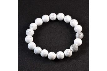 (White Turquoise) - AD Beads Natural Gemstone Round Beads Stretch Bracelet Healing Reiki 10mm (White Turquoise)
