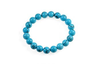 (Blue Turquoise) - AD Beads Natural Gemstone Round Beads Stretch Bracelet Healing Reiki 10mm (Blue Turquoise)