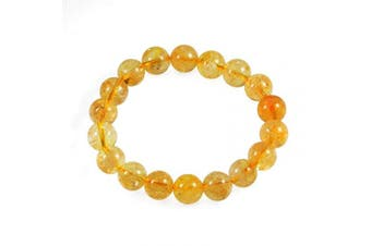 (Citrine) - AD Beads Natural Gemstone Round Beads Stretch Bracelet Healing Reiki 10mm (Citrine)