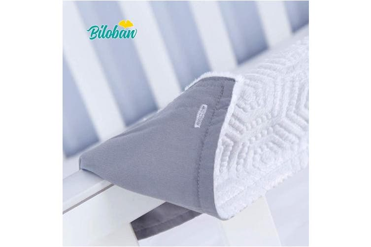 (3 pcs, grey) - Quilted Crib Rail Cover Protector Safe Teething Guard Wrap for Standard Crib Rails, 3 - Piece, Fit Side and Front Rails, Grey/White, Reversible, Safe and Secure Crib Rail Cover.