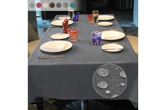 (Dark Gray, 140*240) - LUOLUO Rectangular Tablecloth Stain Proof Waterproof Washable Linen Fabric Tablecloth Wipable Tablecloth for Dining Table Covers Party Table Cloths- Grey 140x240